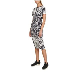 NWT DKNY TIE-DYE RUCHED T-SHIRT DRESS